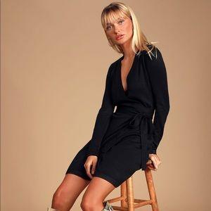 Lulus Literary Lover Black Wrap Sweater Dress